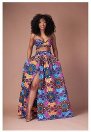 Wholesale Dresses Long Pc - 2017 Traditional African Clothing Ladies Fashion 2 Pcs Dress Set Tube Top+ Long Side Open African Print Floor Length Flared Skirt Maxi Skirt