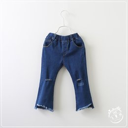 Wholesale Trousers Tassels - 2017 Baby Girls Denim Tassel Pants Kids Girls Embroidered Floral Jeans Babies Spring Wash Blue Fashion Trouser children's clothing