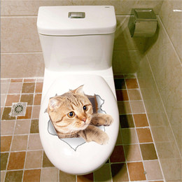 Wholesale Wholesale Vinyl Wall Decals - 3D Cats Wall Sticker Toilet Stickers Hole View Vivid Dogs Bathroom Room Decoration Animal Vinyl Decals Art Sticker Wholesale 0706026