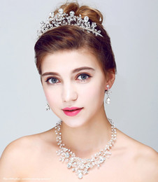 Wholesale handmade bohemian wedding hair accessories - Fashion Handmade Crystal Jewellery Necklace Earrings Tiara Set Bridal Hair Jewelry Accessories Wedding Jewelry Sets For Brides