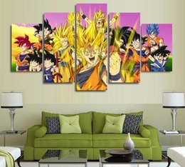 Wholesale Dragon Wall Painting - 5 Panels Wall Art Dragon Ball Goku Super Paintings Art Canvas Paintings Poster Unframed
