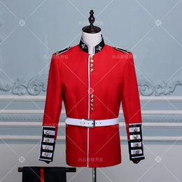 Wholesale Royal Guard - Wholesale- (jacket+pant) male red suit set army costume the Royal Guard Prince William European style palace Costume Dress male soldier