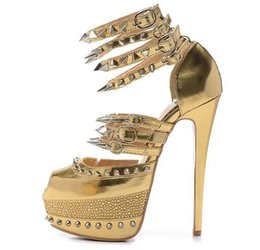 Wholesale Gold Heels Spikes - Size 35-41 Women's 16cm High Heels Gold Genuine Leather With Spikes Rhinestone Red Bottom Sandals, Ladies New Fashion Ankle Wrap Party Shoes