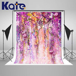Wholesale Painting Drop Cloth - Drop Wedding Background Purple Flower Fotografia Thin Cloth Vinyl Backdrops For Photography Scenery Backgrounds (k132)