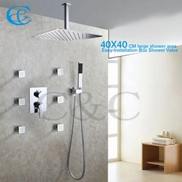 Wholesale Contemporary Style Bathrooms - Contemporary Style Bathroom Shower Faucet Set 40X40 CM Rain Shower Head With Easy-Installation Embedded Box Shower Mixer Valve 002-16T-3S N