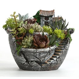 Wholesale Planter Box Gardens - Resin Garden Cactus Succulent Plant Pot Herb Flower Planter Box Nursery Pots Home Room Decor Ornament Garden Tools Supplies