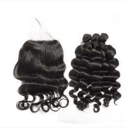 Wholesale Weave Knot - 2017 new loose wave Indian Virgin Hair Bundles 3pcs Indian loose wave with closure,Swiss Lace with bleached knots Free Shipping