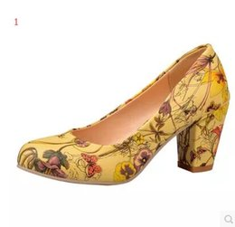 Wholesale Cheap Large Size Shoes - I love you High Heels Women Shoes Heels Round Toe Square Heels Female Flower Pumps Cheap Work Shoes Yellow Red Large size 32-43