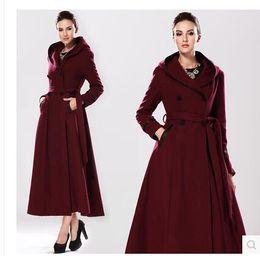 Wholesale Long Women British Coat - Hooded cloak coat women high quality warm long wool coating coat british style European women show winter warm long woolen jacket
