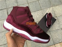 Wholesale Mens Carbon - Top Quatity Retro 11 Red Velvet Basketball Shoes Sports Night Maroon Heiress Wine Red Mens Womens Sneakers Real Carbon Fiber Wholesale