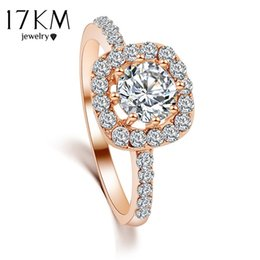 rings for bride Australia - 17KM Brand Design New Fashion Elegant Luxury Charm Crystal Ring jewelry gold Color Wedding Bride Accessories for women