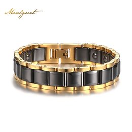 Wholesale Magnetic Therapy Bangles - Meaeguet Men Black Hematite Super Strong Magnetic Health Bracelet Magnet Therapy Biomagnetic Bangles Jewelry 20cm Length SBRM-089