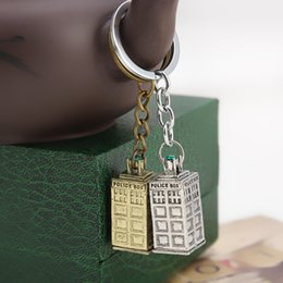 Wholesale Bag Booth - Promotion DoctorWho police box keychains telephone booth key chains Dotor Who movie jewelry pendants fit bags key ring Accessories 240221