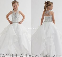 Acheter en ligne Robes de concours blanches ados-Rachel Allan 2017 Robes de Fleur de Fleur Blanche pour Wedding Ball Gown Organza Open Back Jewel Neck Cristaux Custom Teens Girls Pageant Robes