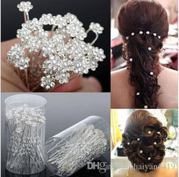 Wholesale pin rings - Wedding Accessories Bridal Jewelry 2017 Bridal Pearl Hairpins Flower Crystal Pearl Rhinestone Hair Pins Clips Bridesmaid Women Hair Jewelry