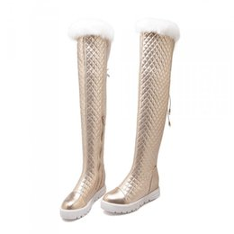 Wholesale Tall Woman Platforms - Wholesale- Over The Knee Boots Winter Women Platform New 2016 Tall Leather Fashion Snowshoes Women With Real Fur Ladies Shoes Free Shipping