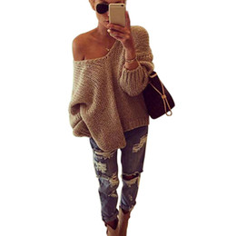 Wholesale Plus Size Off Shoulder Sweater - Wholesale-Autumn Winter Women Tops Sexy Batwing Sleeve V-Neck Pullovers Knitted Slim Off The Shoulder Loose Sweaters Plus Size 2016