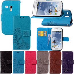 Wholesale S7562 Tpu Cases - For Samsung Galaxy S7562 Wallet Case Cover PU Leather Concave Coining Lucky Four Leaf Clover with Magnetic Flip Buckle Card Slots