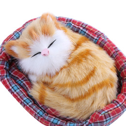 Wholesale Sleeping Cat Cute Plush - Wholesale- 3-10 years baby Lovely Simulation Sounding Sleeping Cat Cute Breathable Plush Toy with Nest Interesting Birthday Christmas Gift