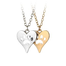 Wholesale You Left Your Paw Prints on My Heart Rescue Dog Cat Silver Tone Paw Print Heart Necklace Heart with Paw Cutout Pet Lover Jewelry