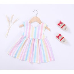 Wholesale Toddler Striped Tutu Dress - girls dresses New 2017 Rainbow Stripe Sweet Princess Dress Cute Ruffle Europe Style Toddler Party Dress Infant Casual Dresses C596