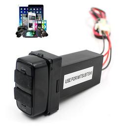 Wholesale Mitsubishi Charger - Wholesale- Car 12V To 5V 2.1A Dual USB Port Socket GPS Cell Phone Charger For MITSUBISHI