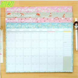 Wholesale College Promotions - Wholesale- Flower Cartoon Fox Rabbit Monthly Organiser Planner Desk Table Business Schedule To Do List For College And Office 21cm X 28.5
