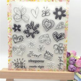 Wholesale Photo Album Heart - Wholesale- Many Flowers with Love Heart Transparent Clear Stamp DIY Silicone Seals Scrapbooking Card Making Photo Album Decorative Crafts