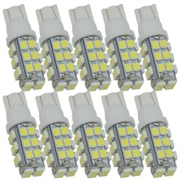 Wholesale Led Car Lights 194 - 10pcs T10 LED Wedge Bulb 12V T10 28 SMD 3528 168 194 led W5W Auto Led Light Bulb for Car Signal Bulbs Dome Lights