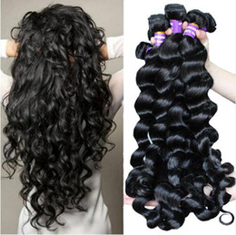 Wholesale Indian Hair Wefts - Unprocessed Brazilian Human Remy Virgin Hair Loose Wave Hair Weaves Hair Extensions Natural Color 100g bundle Double Wefts 3Bundles lot