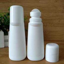 botellas de desodorante al por mayor Rebajas venta al por mayor 100ml plástico blanco rollo en botellas, 100cc desodorante cosmética Roll-on contenedor con Big Roller Ball F2017862