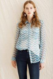 Wholesale Ladies Shirt Button Design - 2017 Jasmine Flower Print Floral Print TK Long Sleeves Turn-DownCollar 100% Real Silk Lady Top Blouse Women Brand Design Shirt O25