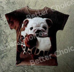 Wholesale Batwing Toy - Track Ship+Vintage Retro T-shirt Top Tee Cute french Baby Bulldog Dog with Giraffe Toy in Mouth 0964