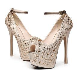 Wholesale high heels 16 cm - New Women's Super High Heel 16 cm Waterproof Shoes diamond wedding shoes Super High Platform Spikes Pumps 2 Colors Gold Black
