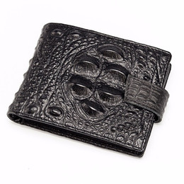 Wholesale Fresh Male - 100% Vintage Genuine Leather Men Wallets Cowhide Leather Wallet Short Alligator Design Male Purse Hasp Credit Card Holder