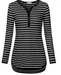 Wholesale Woman Top Fit Xl - Women Autumn Winter Casual Striped Tunic Shirts With High Low Hem Slim Fit Casual Tops V-Neck 3 4 Roll Up Sleeve T Shirts ZL3460