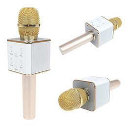 Wholesale Ipad Professional - Q7 K068mini portable outdoor ktv for iPad wireless condenser microphone karaoke machine player bluetooth professional microphone