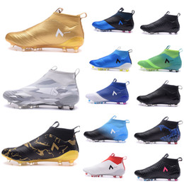 Wholesale Ground Spikes - Ace 17+ Purecontrol Primeknit outtdoor Soccer Cleats Firm Ground Cleats Trainers Boost FG NSG Mens Football Boots Soccer Shoes Gold Black