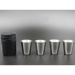 Wholesale New Tea Set - 4pcs Set New Stainless Steel Cover Mug Sets Camping Cup Mug Drinking Coffee Tea Beer With Case Travel Holiday Picnic Cup 30ML HH-C27
