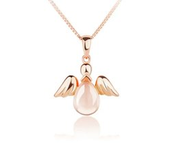 Wholesale Simple Natural Crystal Necklace - Natural Crystal Silver Necklace female Angel Pendant Chain all-match Japan simple clavicle Girls Birthday Gift