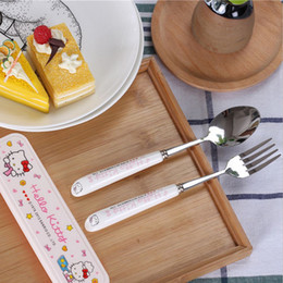 Wholesale Bone China Tableware - Outdoor Travel Dinnerware Kit Hello kitty tableware chopstick spoon fork with box Cartoon Stainless steel Cutlery kit baby gift