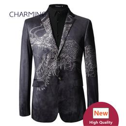 Chinesisches gewebe für männer online-Chinesische Wind Drachen Muster Totem schwarze Männer Anzug 3D-Druck hochwertige Samt Stoff 1 Stücke Großhandel Bräutigam Anzug Jacke