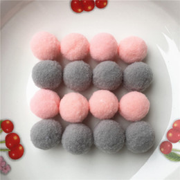 Wholesale Craft Pompoms - 100pcs Approx 25mm Mix Pink grey Pompom Fur Craft DIY Soft Pom Poms Balls Wedding Home Decoration Sewing On Cloth Accessories