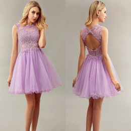 Wholesale Cocktail Dresses Ivory Color - Light Purple Short Bridesmaid Dresses Jewel With Lace Applique Homecoming Dresses Sheer Lace Corset Tiered Ruffle Cocktail Gowns 2017