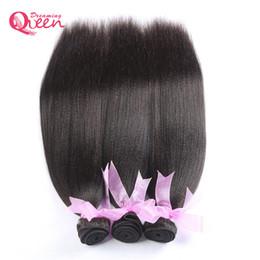 Wholesale Wholesale India Virgin Hair - Brazilian Light Yaki Hair Bundles Virgin Human Hair Coarse Yaki India Yaki Weaves 100% Unprocessed Hair Natural Color 3 Pieces Free Shipping