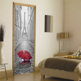 Wholesale paris wall mural - 3D Door Sticker DIY Mural Imitation Paris Eiffel Tower Waterproof Self adhesive Door Stickers Bedroom Home Decor PVC Wallpaper
