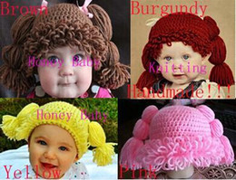Wholesale Baby Girl Hats Wig - Baby Wig Hat Kid Inspired Hat Girl Cabbage Patch Wig Hat Crochet Beanie Princess Cabbage Patch Cap Newborn Infant Toddler Photo Props Cotton