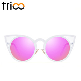 Wholesale Circle Shades Men - Wholesale-TRIOO Cat Eye Shades Circle Color Lens Designer Female Sun Glasses 2016 Luxury Brand Mirror Ladies Sunglasses