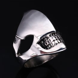 Wholesale Cool Unique - Predator Movie Series Cool Black Stainless Steel Ring Skull For Man Unique Gothic Punk Retro Sport Biker Skeleton Male Finger Rings