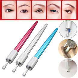 Wholesale Eyebrow Tattoo Gun Machine - Liner Microblading Pen Machine Caneta Tebori Classic Manual Eyebrow Tattoo Gun For Permanent Makeup Eye Brow Lip